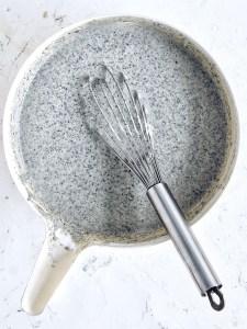 bowl filled with batter for black sesame mochi cake