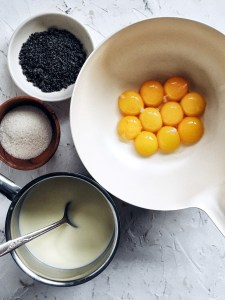 ingredients for black sesame creme brulee
