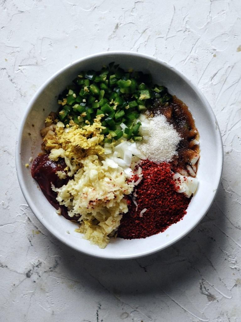 ingredients for spicy Korean pork ribs (Spicy Galbi Jjim) in white bowl