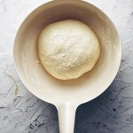 bread dough in white bowl