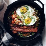 breakfast skillet with eggs, bacon, kimchi, hashbrowns