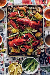 seafood boil on a tray