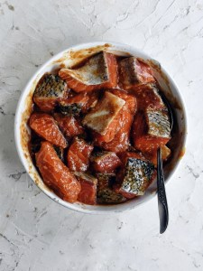 salmon cubes with miso marinade