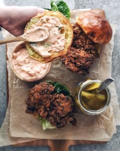 kimchi mayo on bun