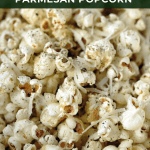 close up of parmesan popcorn with black pepper