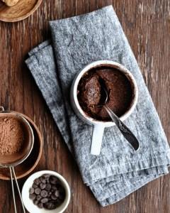 spoon digging into easy miso chocolate mug cake