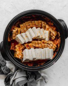 kimchi jjim in black pot