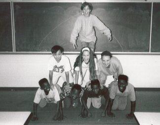 1991 - Scholars construct a human pyramid