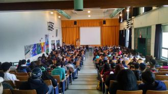 The auditorium at Boston Latin Academy was packed!