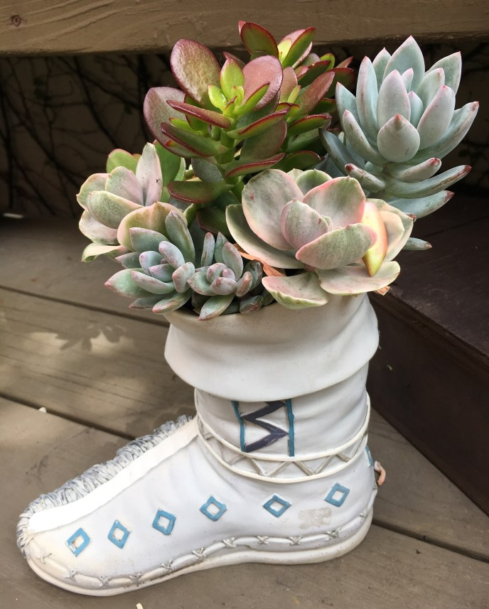 Ceramic Boot planted with colorful, mixed succulent plants