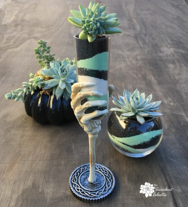 succulent sand art in skeletal hand chalice and glass bowl