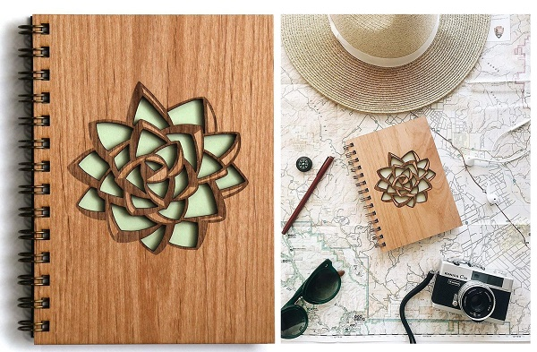 wood bound succulent journal makes a great gift