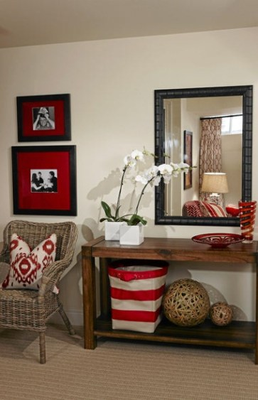 red and brown accents via globe and mail