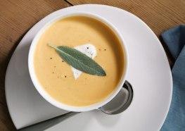 roasted butternut squash* soup with sage* cream via bon appetit