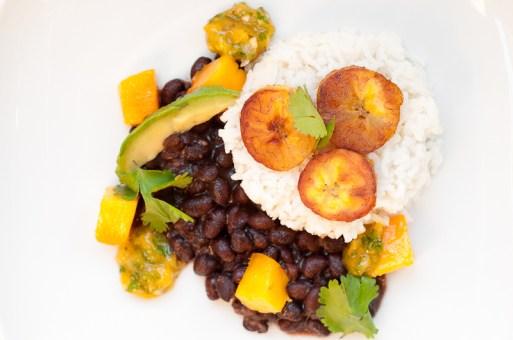 coconut rice with black beans plaintains and mango salsa via herbivoracious