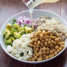 kale barley and feta salad with a honey lemon vinaigrette via sweet peas and saffron