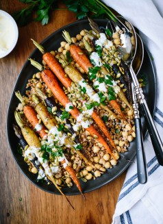 roasted carrots with farro chickpeas via cookie & kate