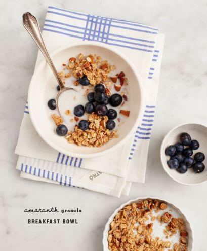 blueberry breakfast bowl amaranth granola via love and lemons