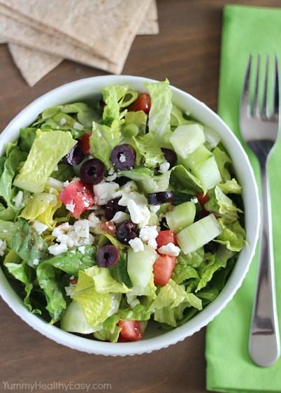 greek salad via yummy healthy easy