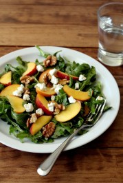 peach arugula salad with walnuts and goat cheese via the wheatless kitchen