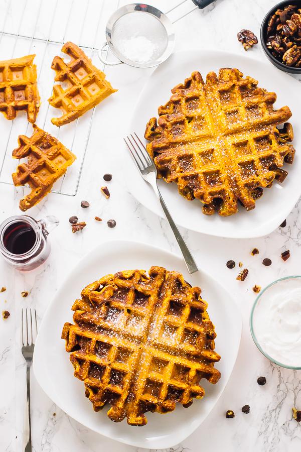 gluten free vegan pumpkin waffles via jessica in the kitchen