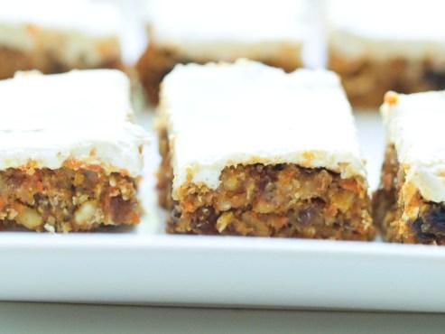 healthy no bake carrot cake bars via happy healthy mama