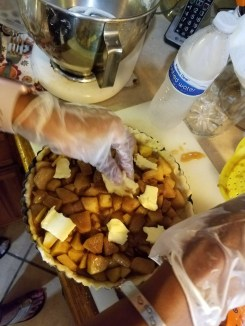 apple tart - dot butter on top