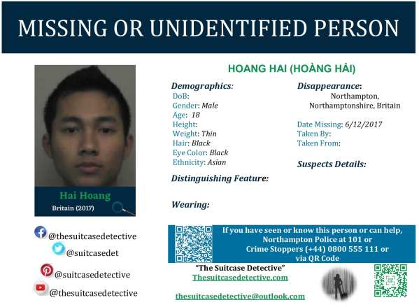 Missing Person poster for HOANG HAI