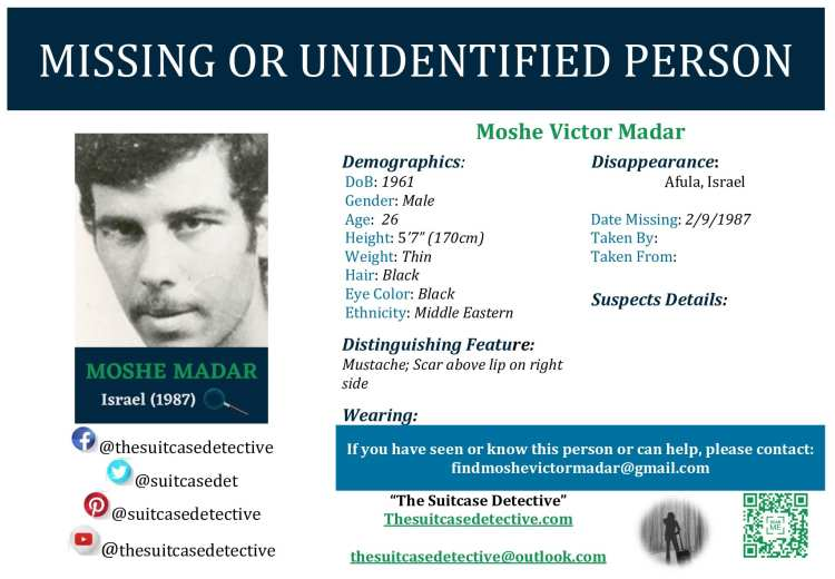 Missing Person poster for Moshe Madar