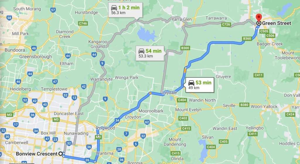 Map from Bonview Crescent to Healesville