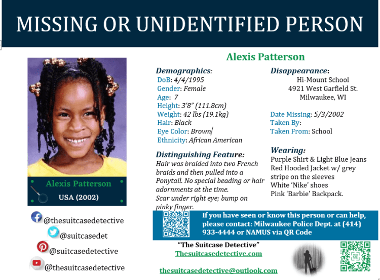 Alexis Patterson Missing person Poster