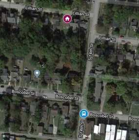 Map of the area from 1312 Lillian Street to the bus stop at 14th and Boscobel in Tabitha Tuders disappearance