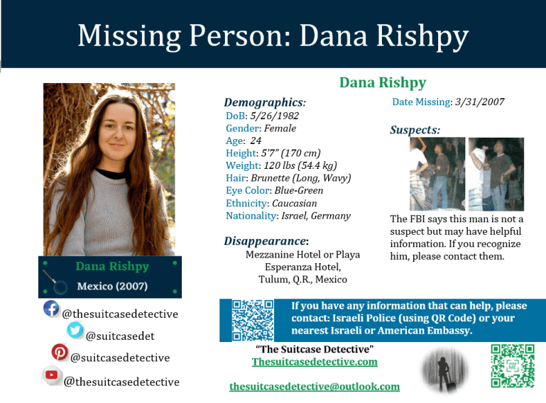 Missing Person poster for Dana Rishpy
