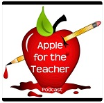 """Pencil stabbed through apple with blood drops. """"Apple for the Teacher"""" podcast logo"""