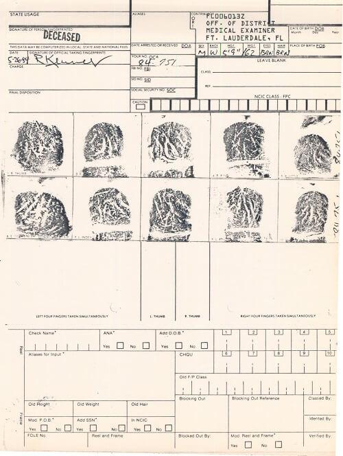 Paratrooper John Doe Fingerprint Card