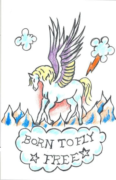 """Left Arm has tattoo of a pegasus with the words """"Born to Fly Free"""""""