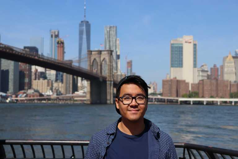 Adi infront of New York skyline