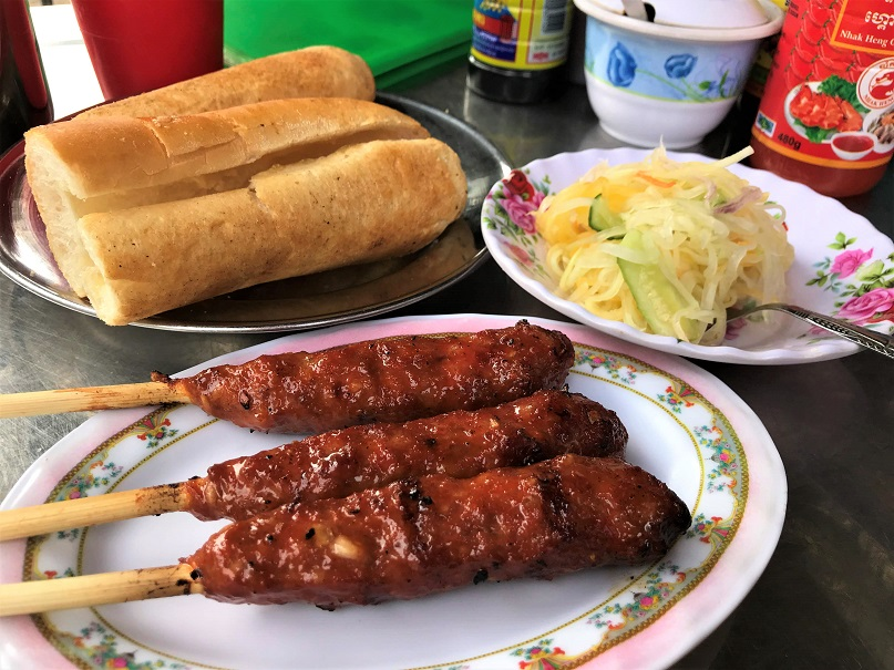 BBQ meat with baguette Budget Breakdown How To Spend Less Than $50 Per Day in Cambodia