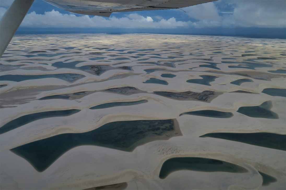 Lençóis Maranhenses from a plane Budget Breakdown One Month Solo Backpacking Brazil