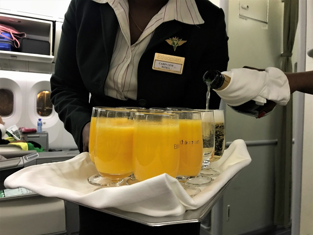 Welcome drink Review Ethiopian Airlines Business Class Addis Ababa to Tokyo