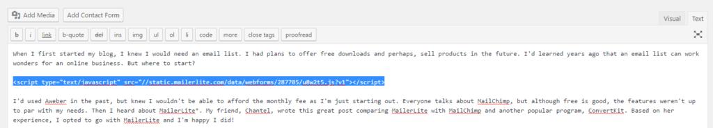 MailerLite email list tutorial screenshot
