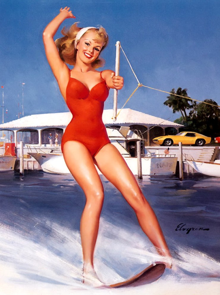 surf-boats-girl-pop-art-pin-up-vintage-poster-classic-retro-kraft-decorative-maps-wall-sticker