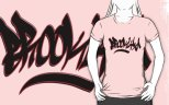 "Image: ""Brooklyn"" - Digital Graffiti Logotype - Black w/Red Stroke on Pink Girly Fit T-Shirt"