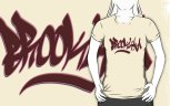 "Image: ""Brooklyn"" - Digital Graffiti Logotype - Maroon on Creme Girly Fit T-Shirt"