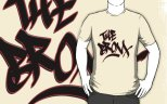 "Image: ""The Bronx"" - Digital Graffiti Logotype - Black w/Red Stroke on Creme T-Shirt"