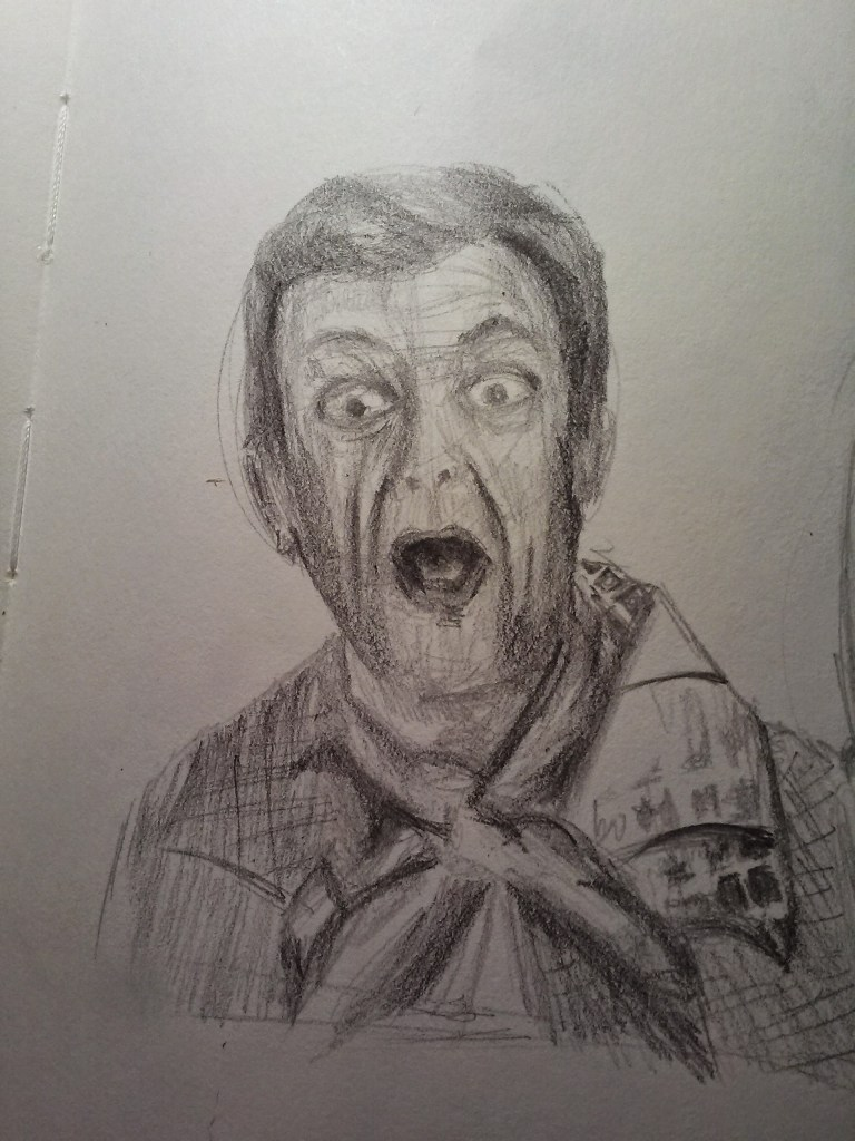 Image:  Pencil Sketch of Mr. Furley from Three's Company