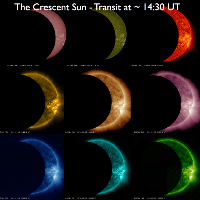 About 1 hour into the lunar transit - shown with all 9 SDO/AIA wavelengths at ~14:30 UT.