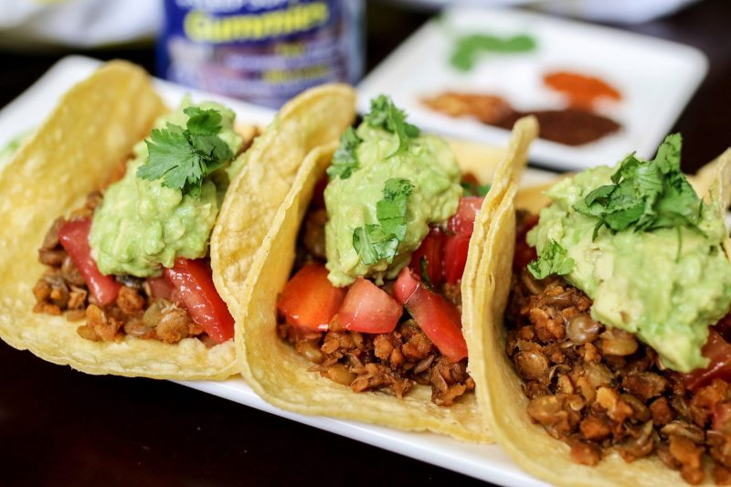 Vegetarian Lentil Tacos with Avocado and Salsa Fresca