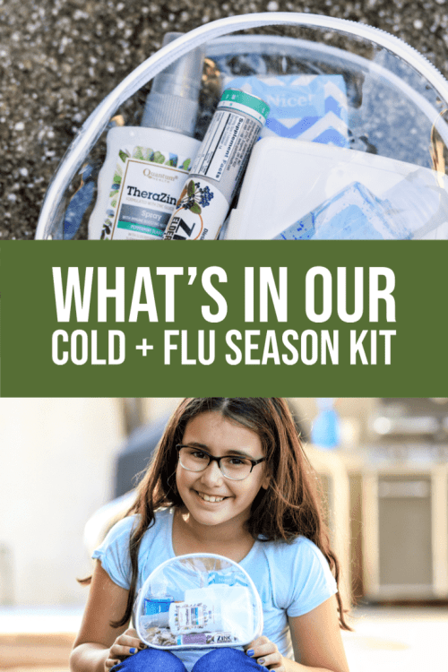 It's the perfect to-go bag containing everything you need to get through cold and flu season! Check out what's in our cold and flu season kit.