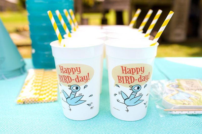 mo willems pigeon happy bird-day cups and paper straws